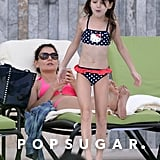 Katie Holmes and Suri Cruise hit the pool in Miami ahead of the New Year.