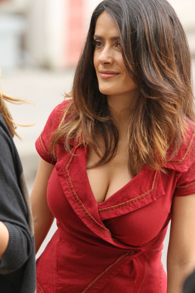 Salma Hayek wore a curve-hugging outfit.