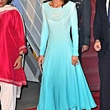 Kate Middleton in a Blue Catherine Walker Dress in Pakistan, 2019