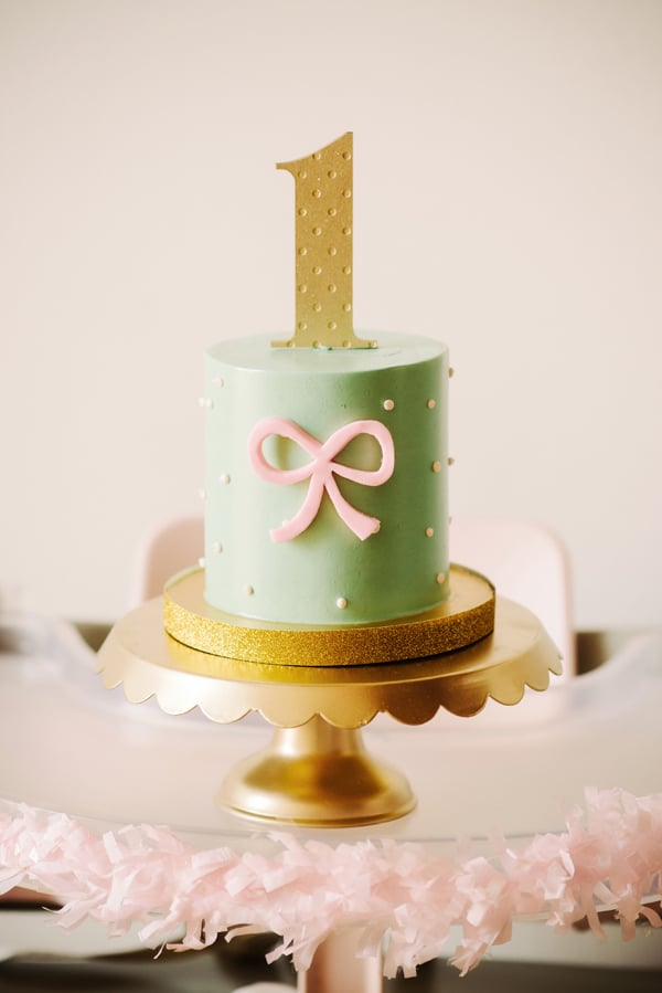 Pink And Gold Bow First Birthday Party Popsugar Family