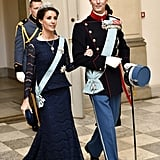 Princess Marie Styled Her Midnight Blue Lace With a Drop Pendant Necklace and Bottega Veneta Clutch