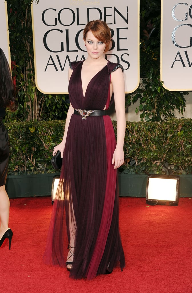 Emma channeled dark glamour on the 2012 Golden Globes red carpet in this two-toned Lanvin gown.