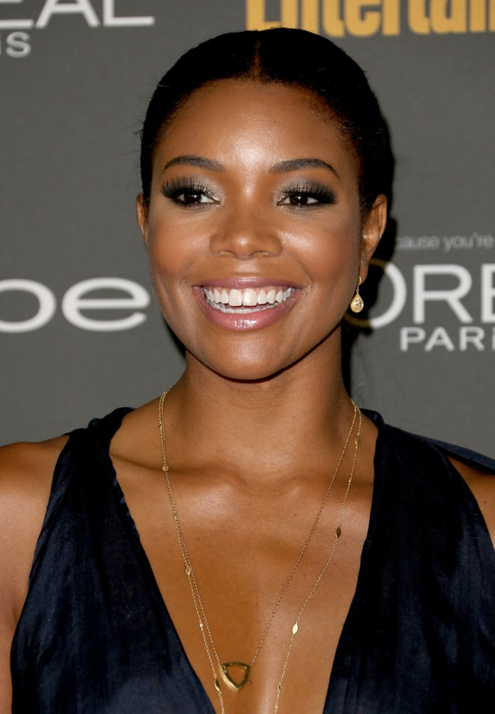 At Entertainment Weekly's pre-Emmys party, Gabrielle Union glowed with a slicked-back hairstyle and loads of shadow around her eyes.