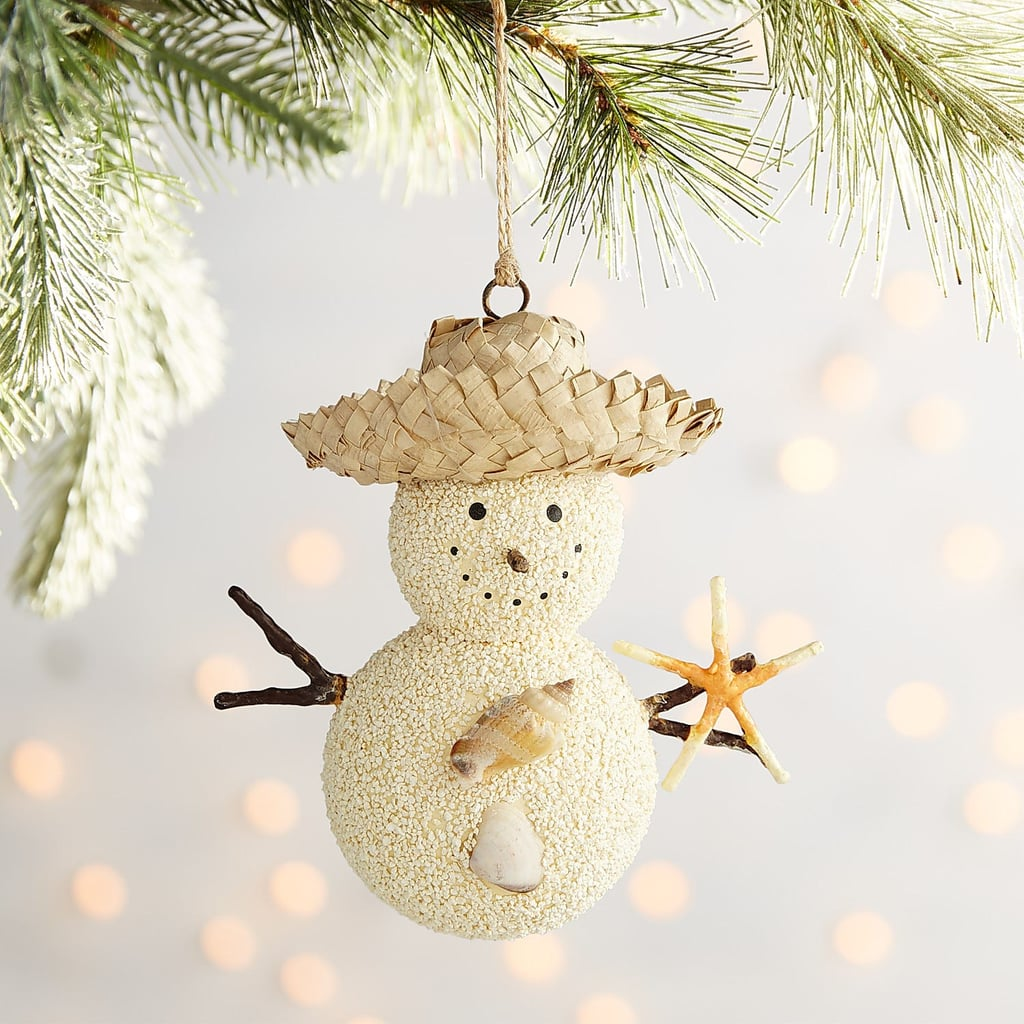 Straw Hat Sand Snowman Ornament