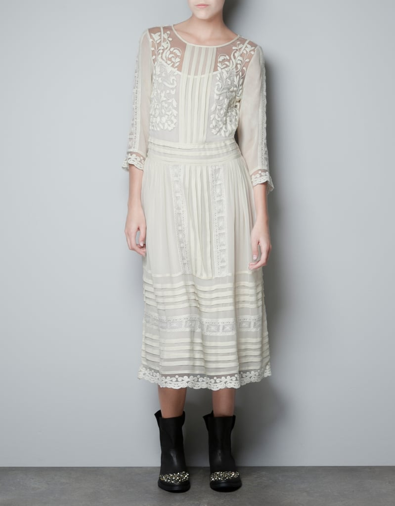 We love the look of a frothy, bohemian-chic dress for late Summer. And by adding tough-girl biker boots and a leather jacket, it works well for Fall's crisp weather. Zara Pin Tuck Embroidered Dress ($100)