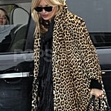 Kate Moss wore a leopard-print coat in London.