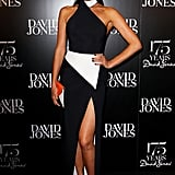 Megan Gale owned the black carpet at the 175th birthday celebration of David Jones, held in Sydney on May 23.