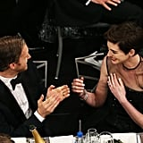 Anne Hathaway shared her winning excitement with husband Adam Shulman.