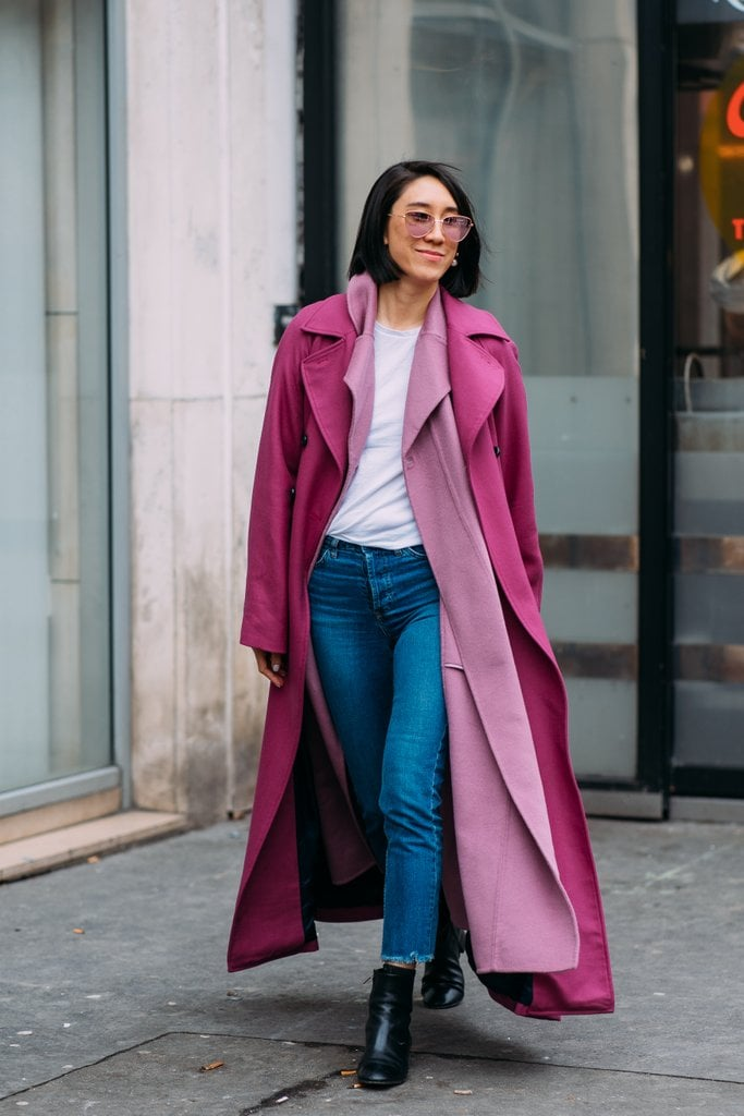 Eva Chen doubled up on girly pink coats.