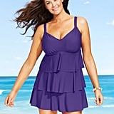 Swim Solutions Plus Size Tiered Ruffled Swimdress