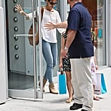 Katie Holmes wore a loose-fitting white shirt and jeans in NYC.