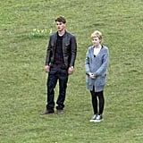Dakota Fanning and Jeremy Irvine filmed together in England.