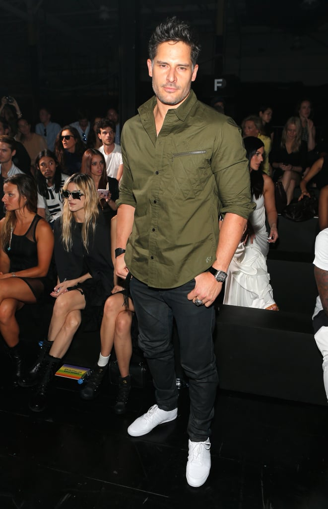 Joe Manganiello showed off his new clean-shaven look at the Y-3 show on Sunday.