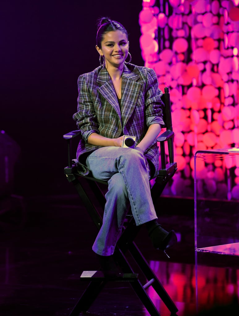 Selena Gomez Clueless-Inspired Plaid Blazer at Album Release