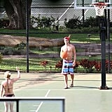 Hayden Panettiere played one-on-one in a black bikini with boyfriend, New York Jets wide receiver, Scotty McKnight, while playing basketball in Hawaii.