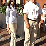 Melania coordinated quite perfectly with Donald at the US Open in 2002, the couple opting for white collared shirts and khaki pants.