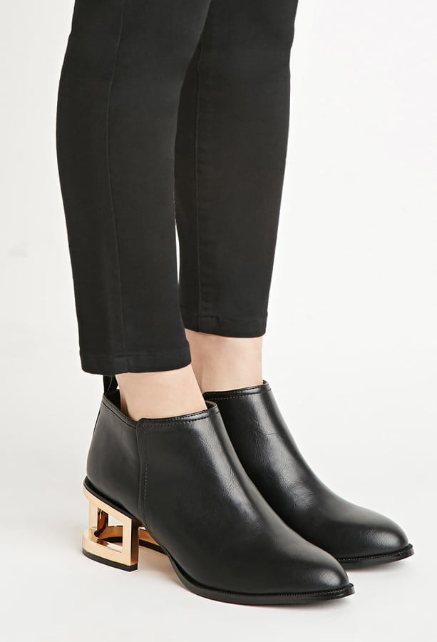 Forever 21 Cutout-Heel Faux Leather Booties ($35)