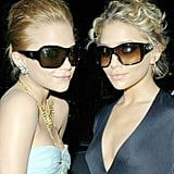 Mary-Kate wore Alexander McQueen sunglasses and Ashley picked a Yves Saint Laurent pair for an event in 2005.