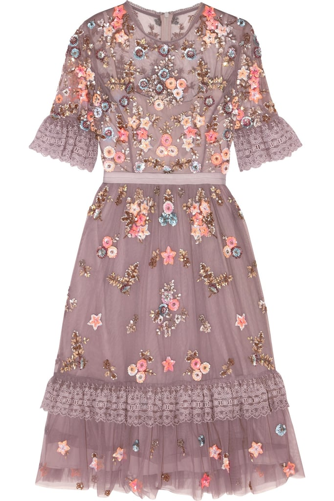 Wear This Muted Lavender Hued Needle Thread Embellished Tulle Mini Dress 600