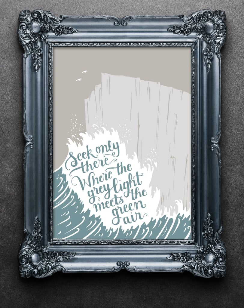 """This cool print features words from the poem """"Landscapes"""" by T.S. Eliot ($40)."""