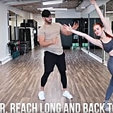 Start in a squat position, cross one leg over the other, and reach up and back diagonally. Once you've done this eight times, repeat the last three moves for the opposite leg to work both equally.