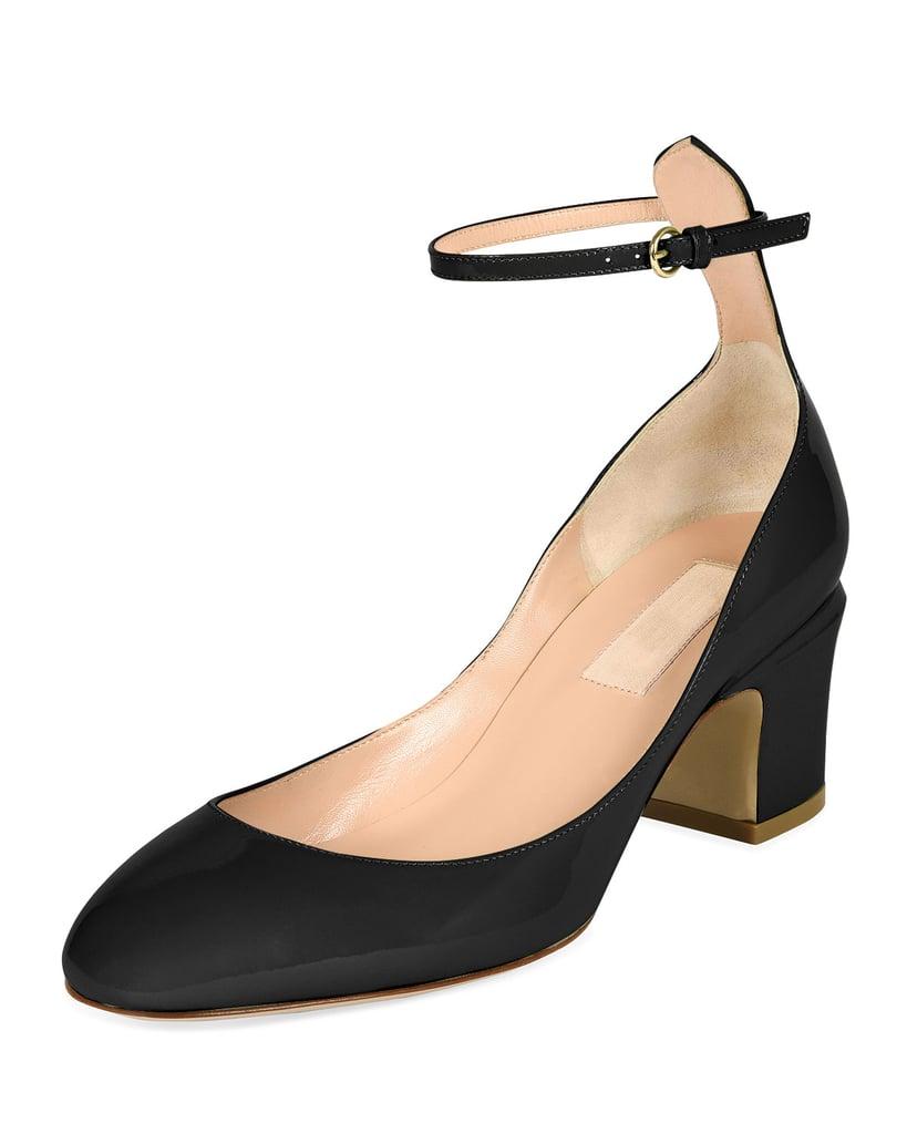 Valentino Tango Patent Block-Heel Ankle-Wrap Pump ($845)