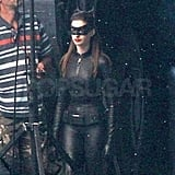 Anne Hathaway slipped into her black catsuit on the set of The Dark Knight Rises.