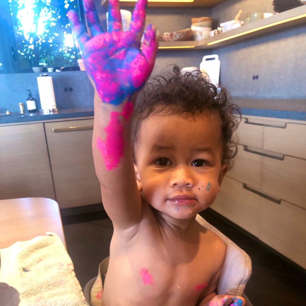 Chrissy Teigen Twitter Photo of Miles Covered in Paint