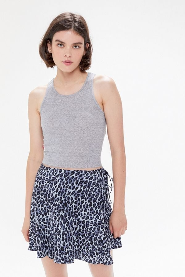 UO Gilly Ruffle Wrap Mini Skirt