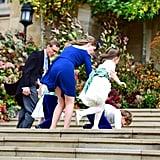 Princess Charlotte Trips at Princess Eugenie's Wedding