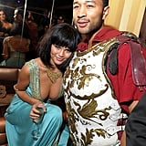 John and Chrissy dressed up as Cleopatra and Marc Antony at Heidi Klum's Halloween party in 2010.