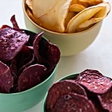 Baked yuca chips, served on their own or paired with sweet potato and beet chips, are an excellent alternative to processed potato chips.