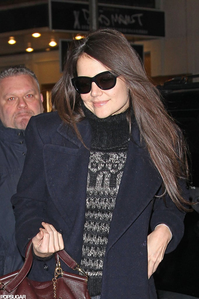 Katie Holmes wore sunglasses and a turtleneck sweater to her Broadway show in NYC.