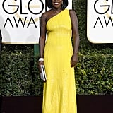 Viola Davis in a Michael Kors Collection one-shouldered dress, Stuart Weitzman shoes, and more than 90 carats of Harry Winston diamonds in 2017.