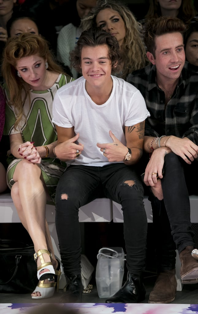 Harry Styles took a front-row seat at the House of Holland show.