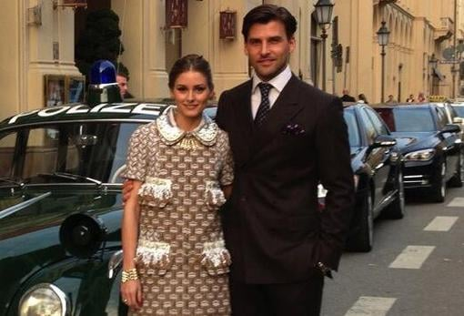 Olivia Palermo and Johannes Huebl posed together before heading to the Louis Vuitton store opening in Germany. Source: Twitter user TheRealOliviaP