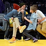 David, Cruz, Romeo, and Brooklyn chatted courtside at an LA Lakers game in November 2012.