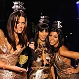 Kim Kardashian rang in the New Year with her sisters, Khloé and Kourtney, at Las Vegas's LAX Nightclub in December 2008.
