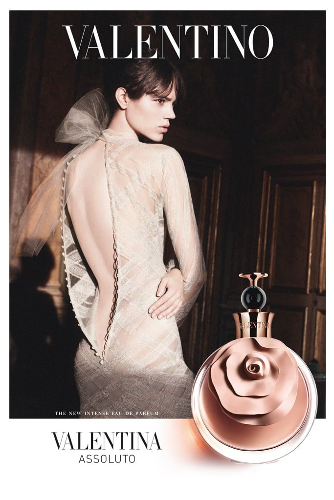Freja Beja Erichsen dons an open-backed Valentino gown in its latest Fall fragrance ad campaign.