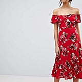 Y.A.S Floral Off Shoulder Midi Dress With Ruffle Hem