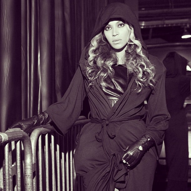 Beyoncé Knowles wore a robe while inside the Superdome. Source: Instagram user baddiebey