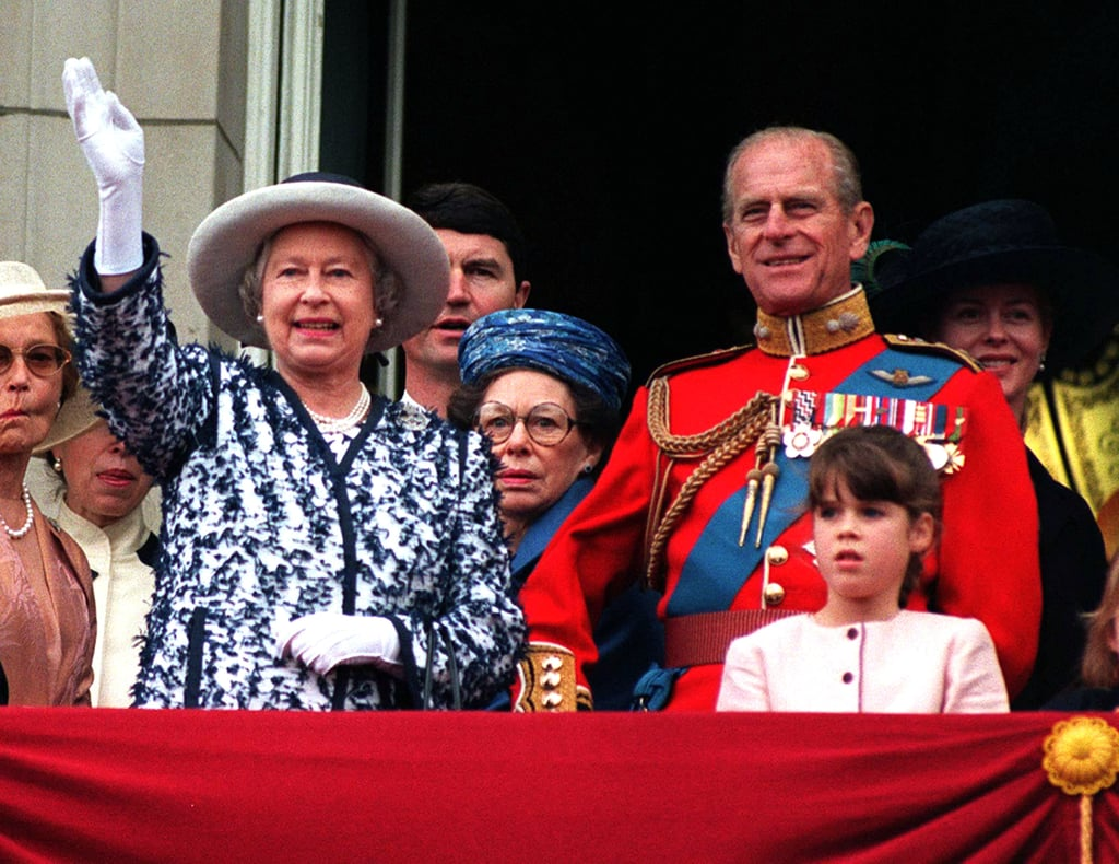 Philip stood with a young Princess Eugenie during the 1998 Trooping the Colour.