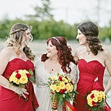 These bright red bridesmaids dresses were part of a Gryffindor theme.
