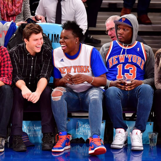 Leslie Jones and Colin Jost at Knicks Game Dec. 2016