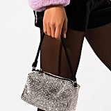 Akira Label Rhinestone Mini Box Purse in Black Crystal