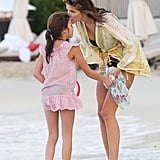 Stephanie Seymour played on the beach with her daughter, Lily Brant.