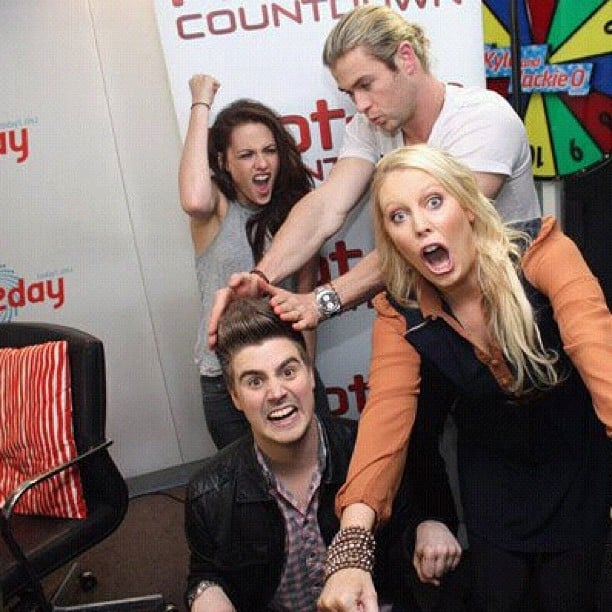 Chris Hemsworth and Kristen Stewart got silly during a visit to the Hot 30 Countdown in Australia. Source: Instagram user chrishemsworth