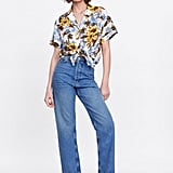 Zara Floral Print Shirt With Knot