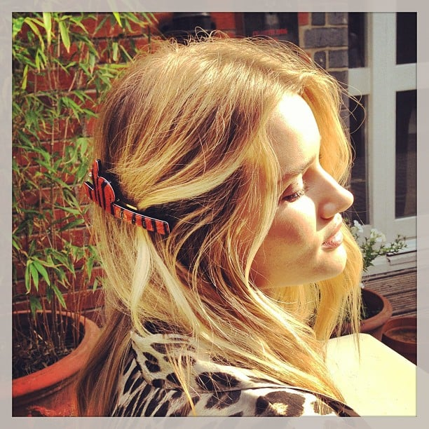 Rosie Huntington-Whiteley showed off a cute bunny hair clip. Source: Instagram user rosiehw