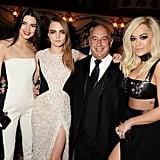 Kendall and Cara met up with Philip Green and Rita Ora inside the event.